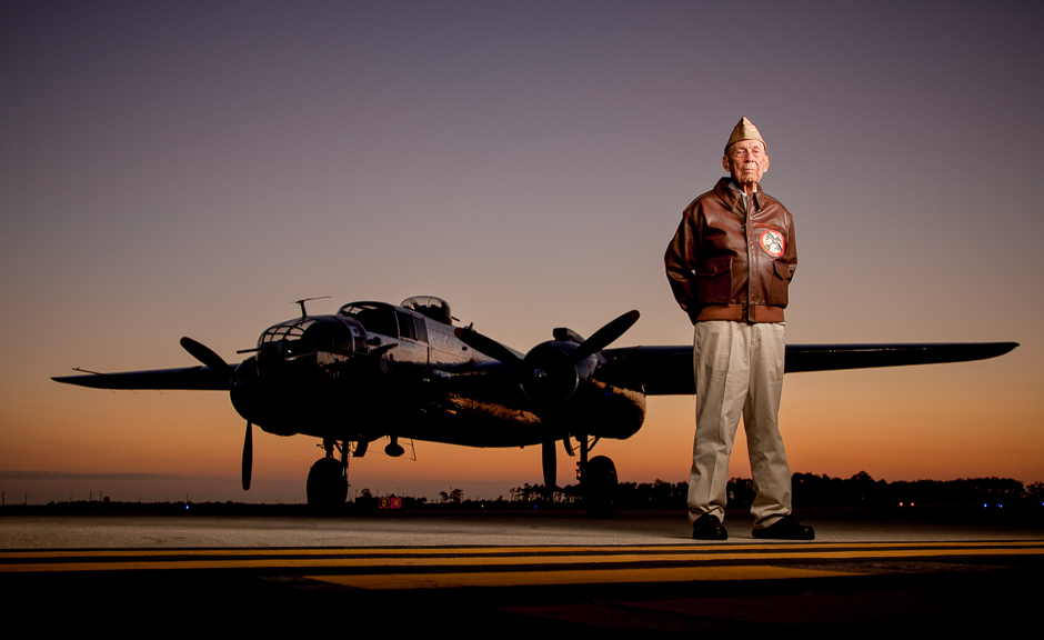 """Doolittle Raiders Lt. Col Richard """"Dick"""" Cole; Sgt. David Thatcher; Maj. Tom Griffin with """"Panchito"""" B-25J at Charlotte County Airport in Punta Gorda, Florida on Friday, March 25, 2011. © Robert Seale"""
