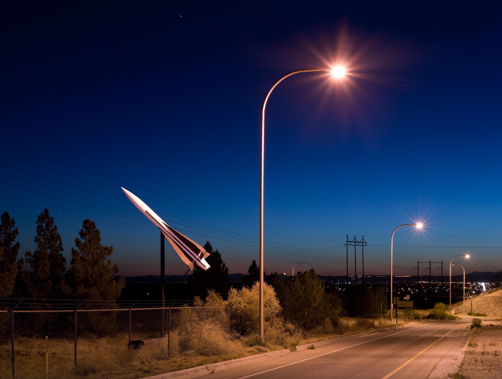 A rocket on display at an independent space museum near Organ in Las Cruces decorates the off ramp towards NASA road. The missile is a Hawk and was an anti aircraft missile. © Paul Freeman