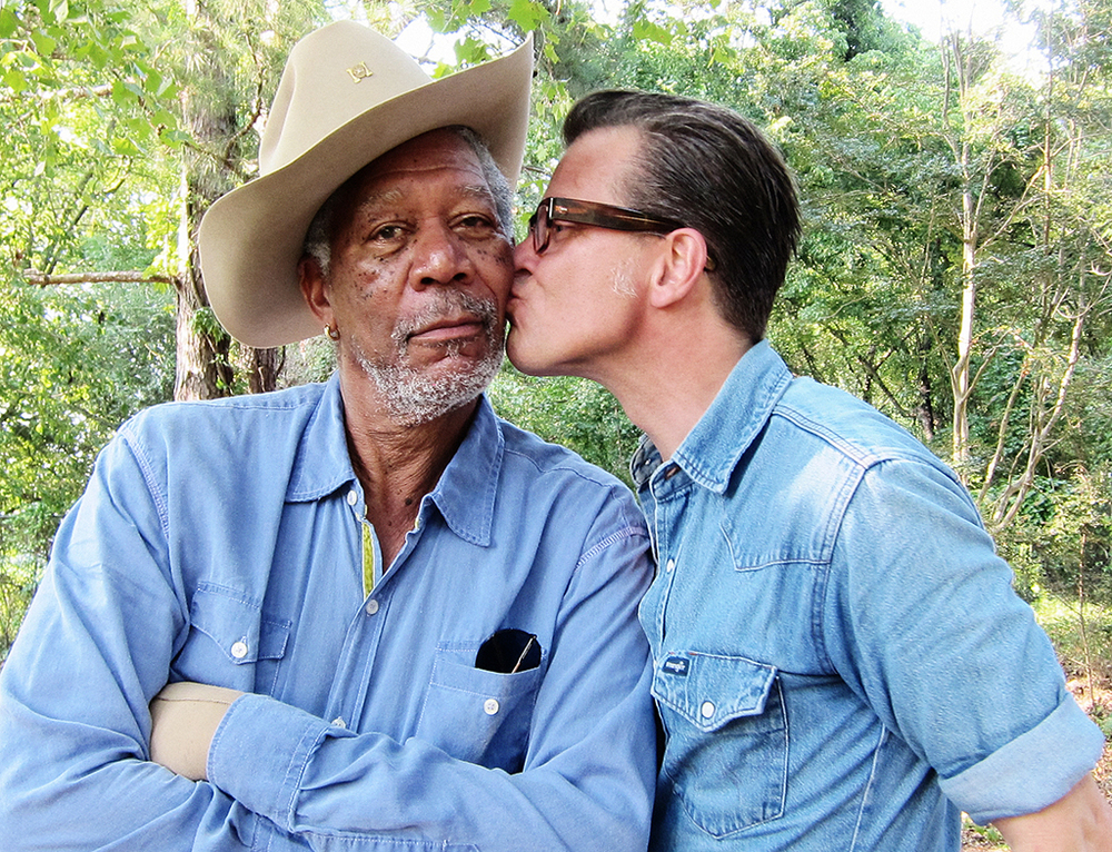 Photographer Jim Herrington on assignment at Morgan Freeman's farm in Mississippi. I emailed Jim to check in and see how the day went and this was the reply. © Jim Herrington