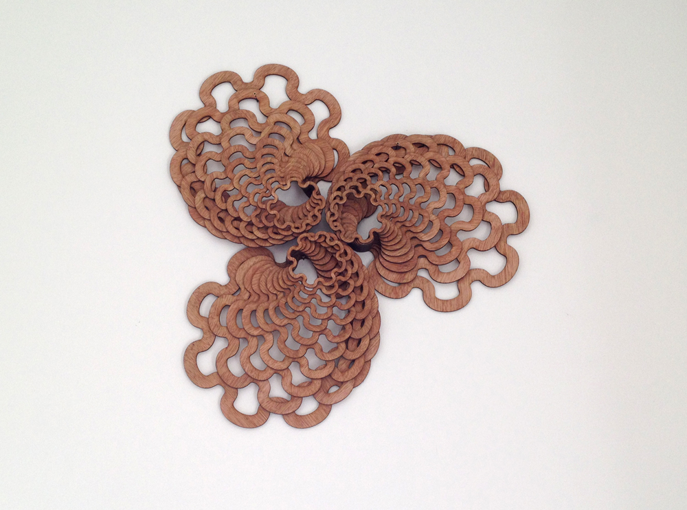 "See Fan 01; 2014; wood. 24"" round. Private Collection, Calistoga, CA"