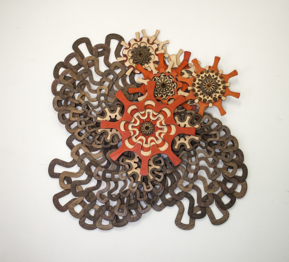 "Mo-Flow 01 ; 2015. 36"" x 35""; stained and unstained wood, Private collection, San Marino CA"