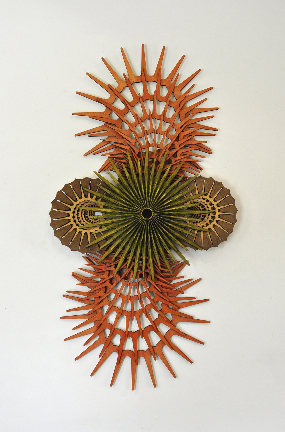 "Mo-Flow 03,  2015; 41"" x 21""; stained wood"