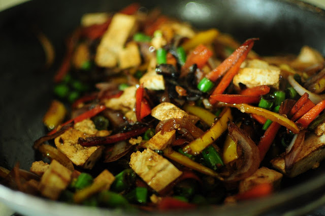 Stir and Fry. Add the tofu pieces.