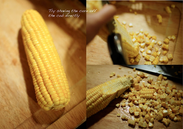 Shave the corn off the cob for fresh and crunchy bites.