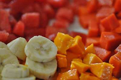 A plate of fruits as topping. Fresh berries would have been perfect. But I made do with apples, bananas, mangoes, papayas, watermelons...