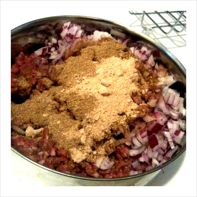 Add everything in a mixing ball along with the spices