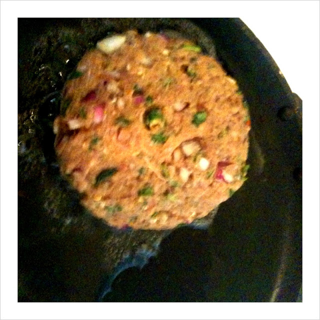 In a flat pan heat some oil. Place the patties in the oil and cook on a low flame