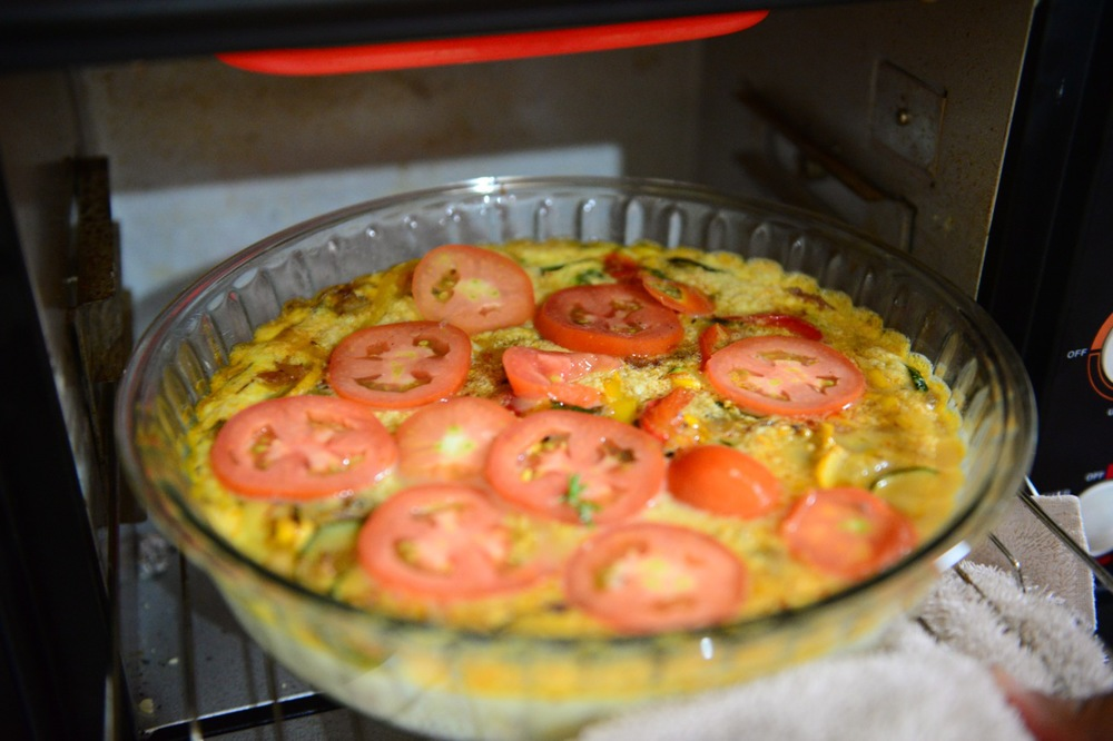 Add the tomatoes half way through the baking