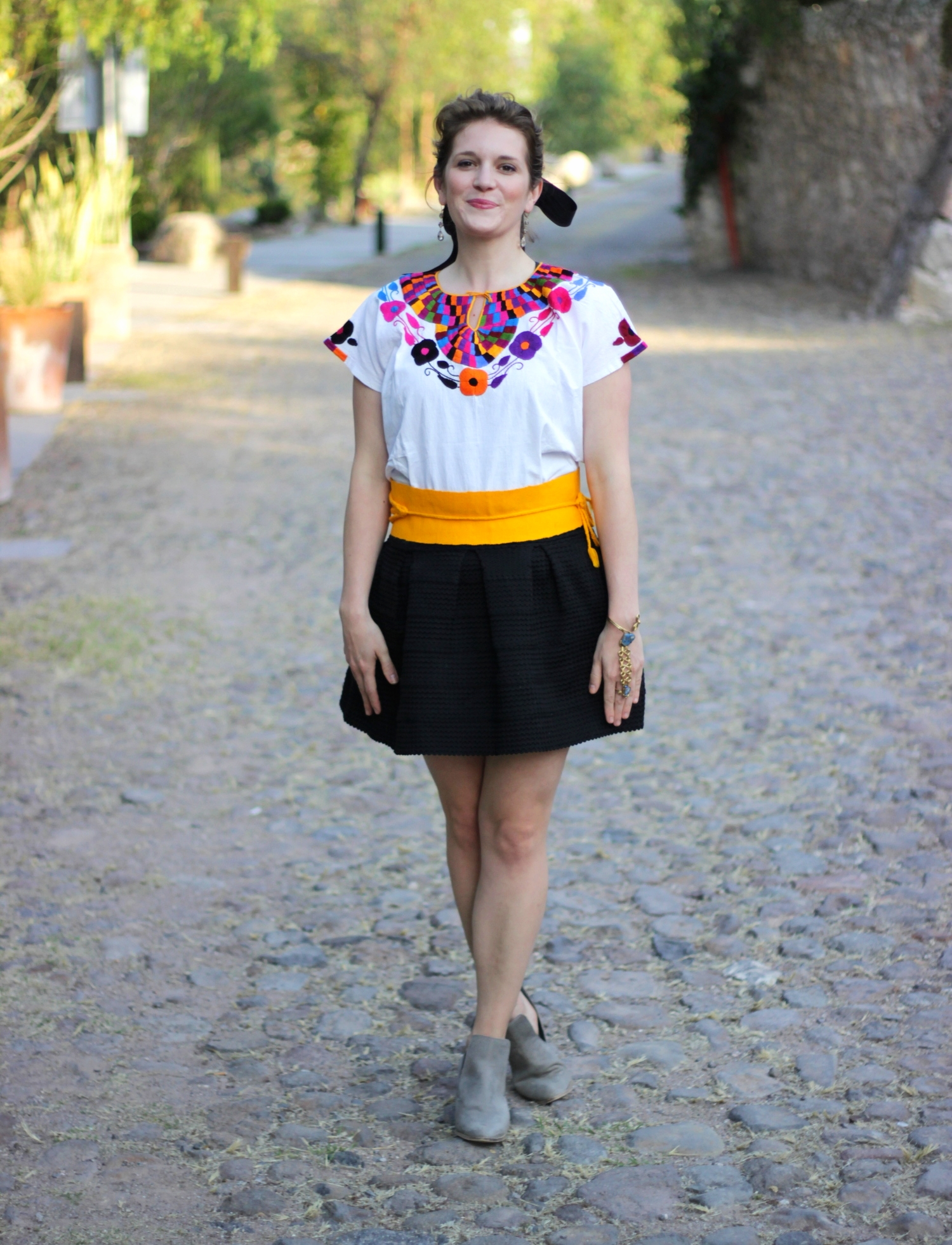 Embroidered blouse and woven belt on belle meets world blog