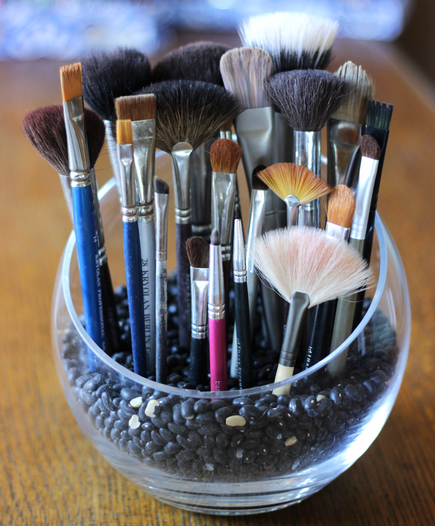 Make up brush storage in a bowl of beans on belle meets world blog
