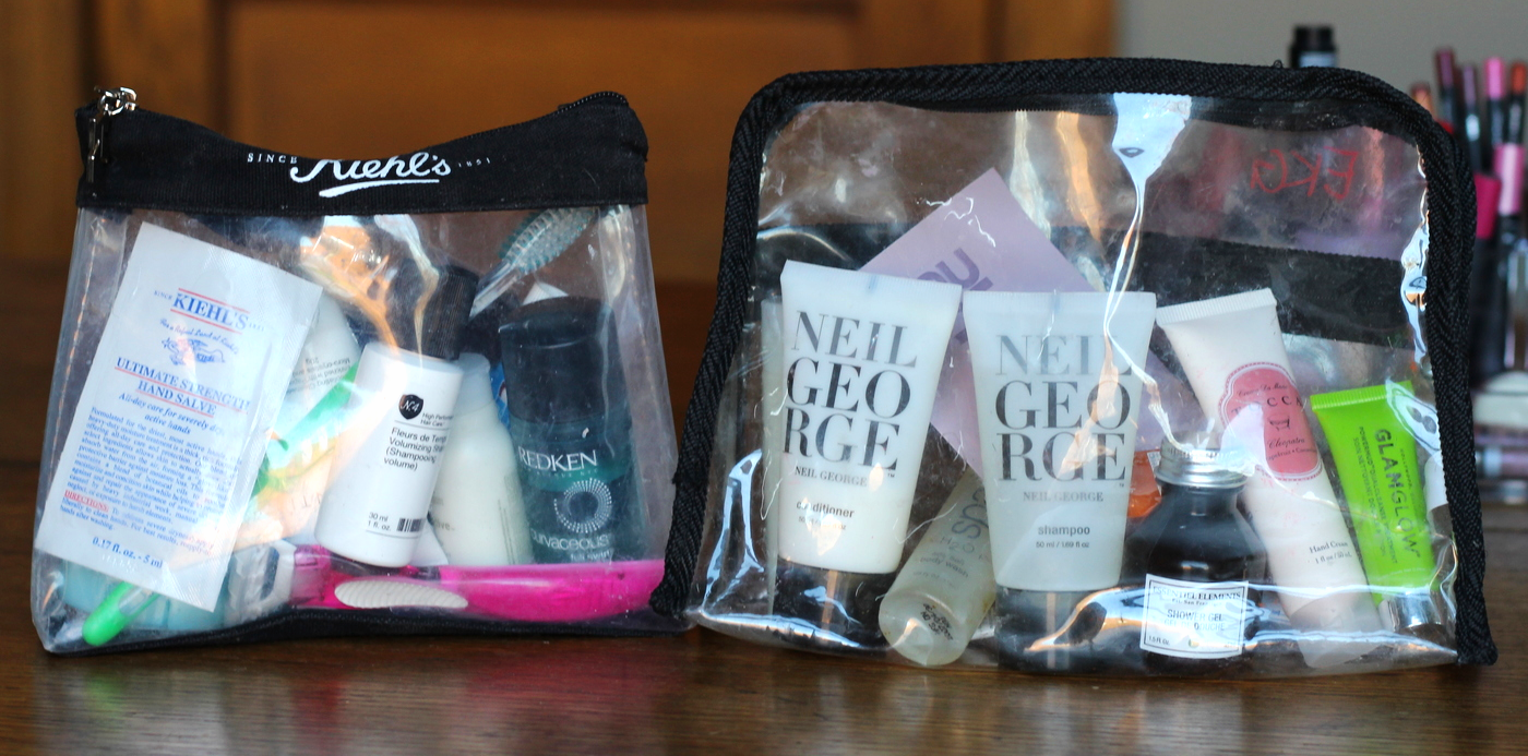 Pack a toiletry bag with samples on belle meets world blog