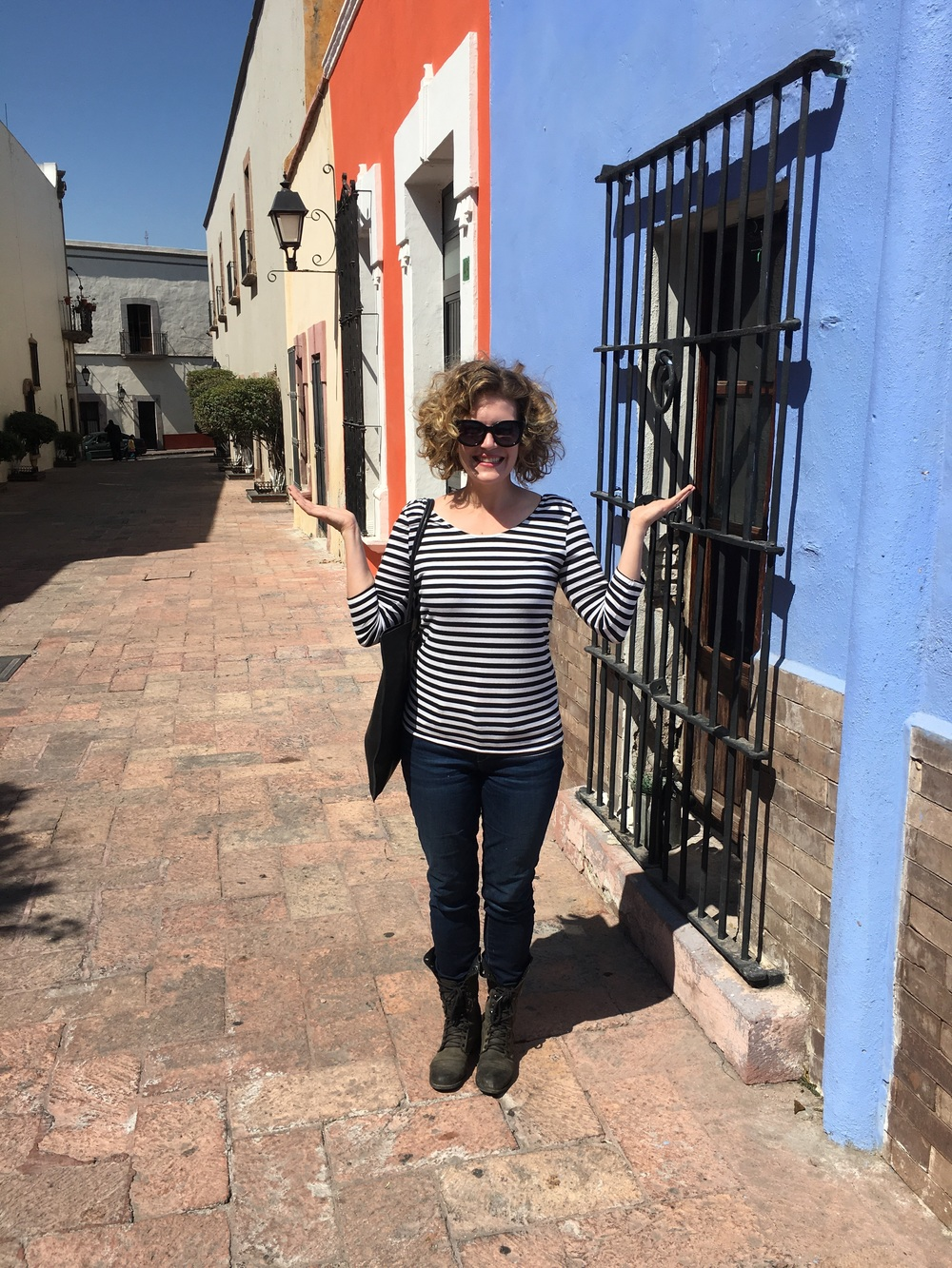 Outside Cafe Breton in Queretaro - showered!
