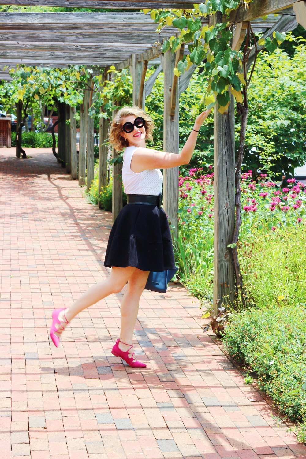 Winery tour at the Biltmore Estate in Asheville, NC. Skirt by H&M (similar), top by Ann Taylor (similar), shoes by Elie Tihari via DSW.