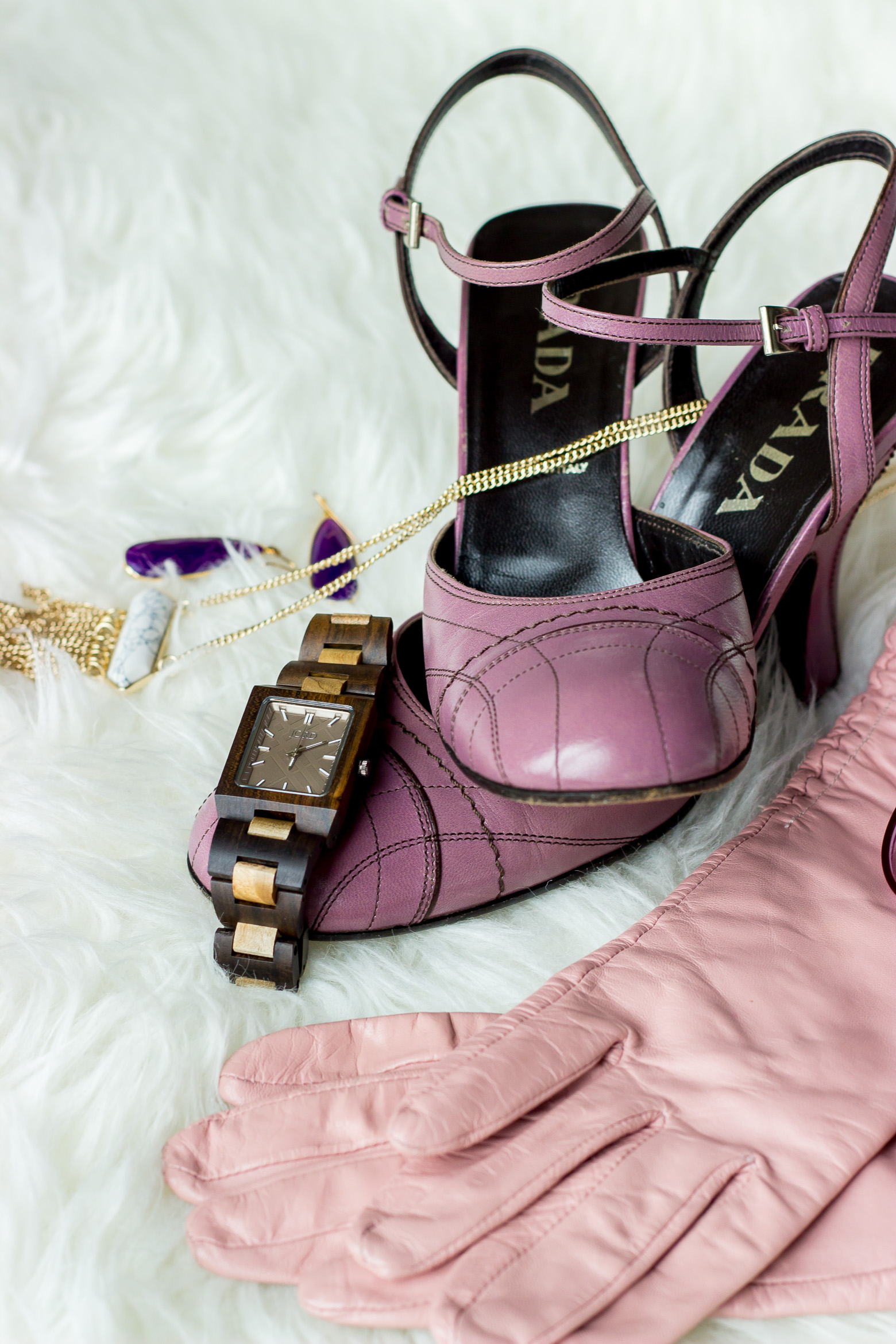 Purple Prada shoes