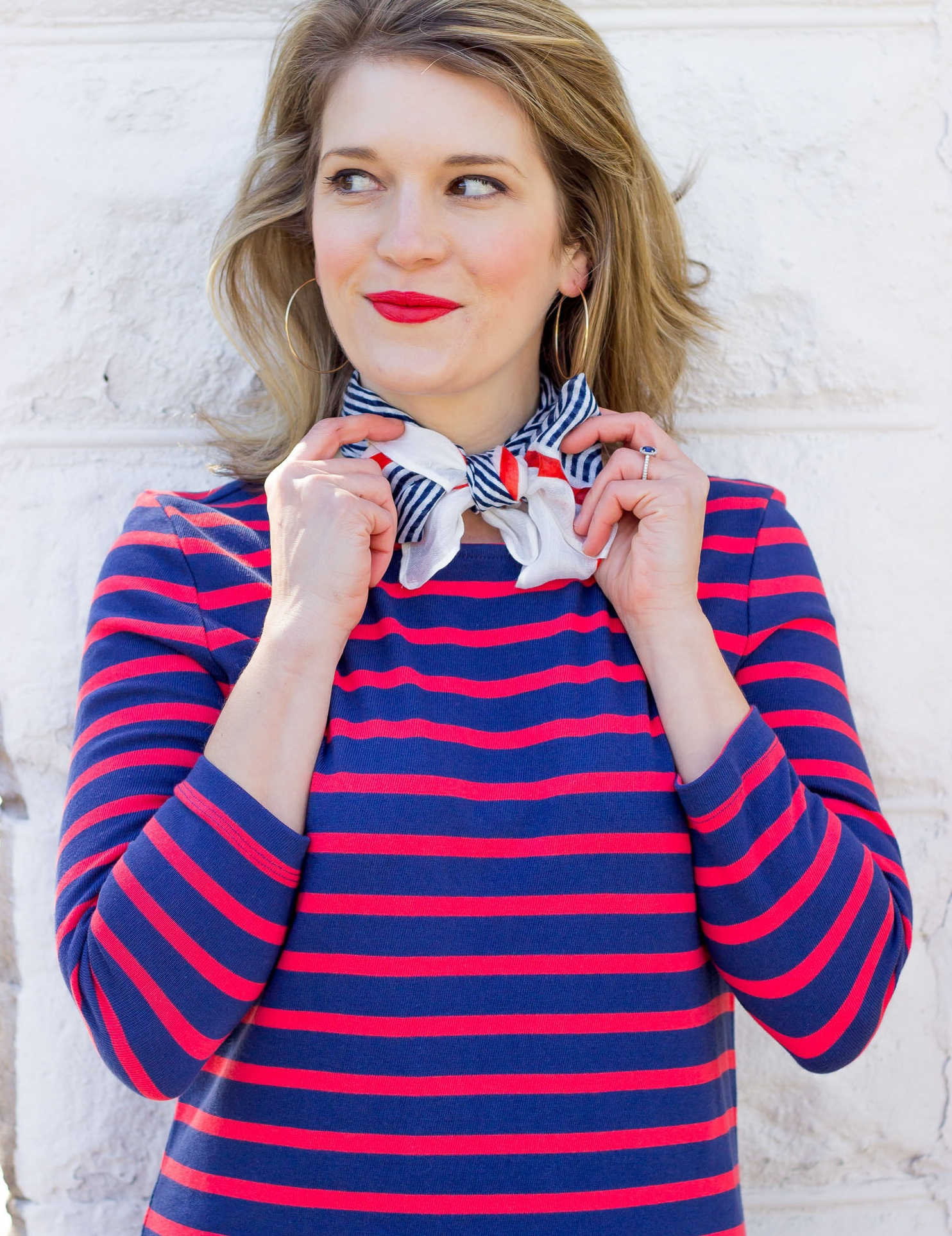 Old Navy striped dress worn by Elise Giannasi of Belle Meets World blog