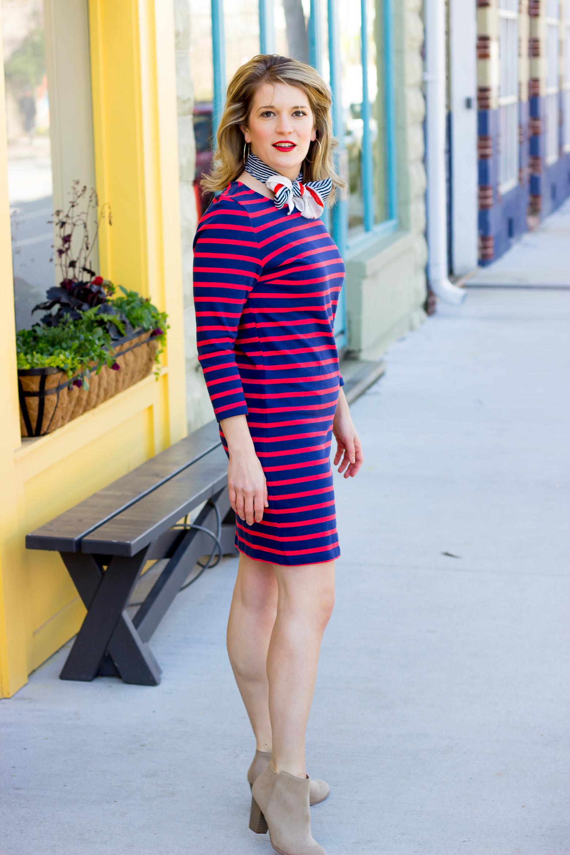 Old Navy striped dress on Belle Meets World blog