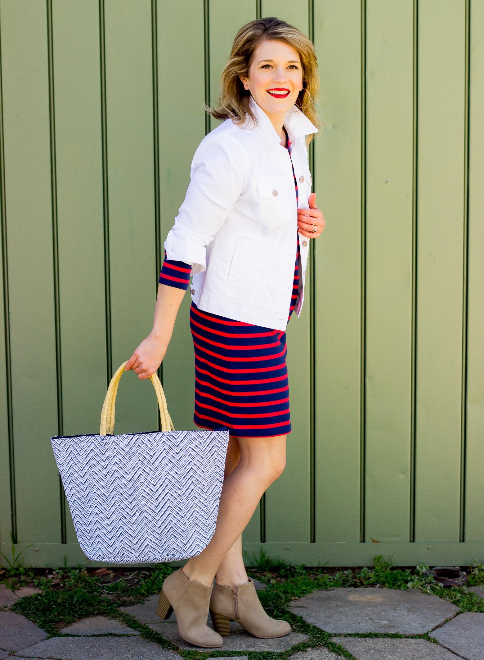 White denim jacket on Belle Meets World blog