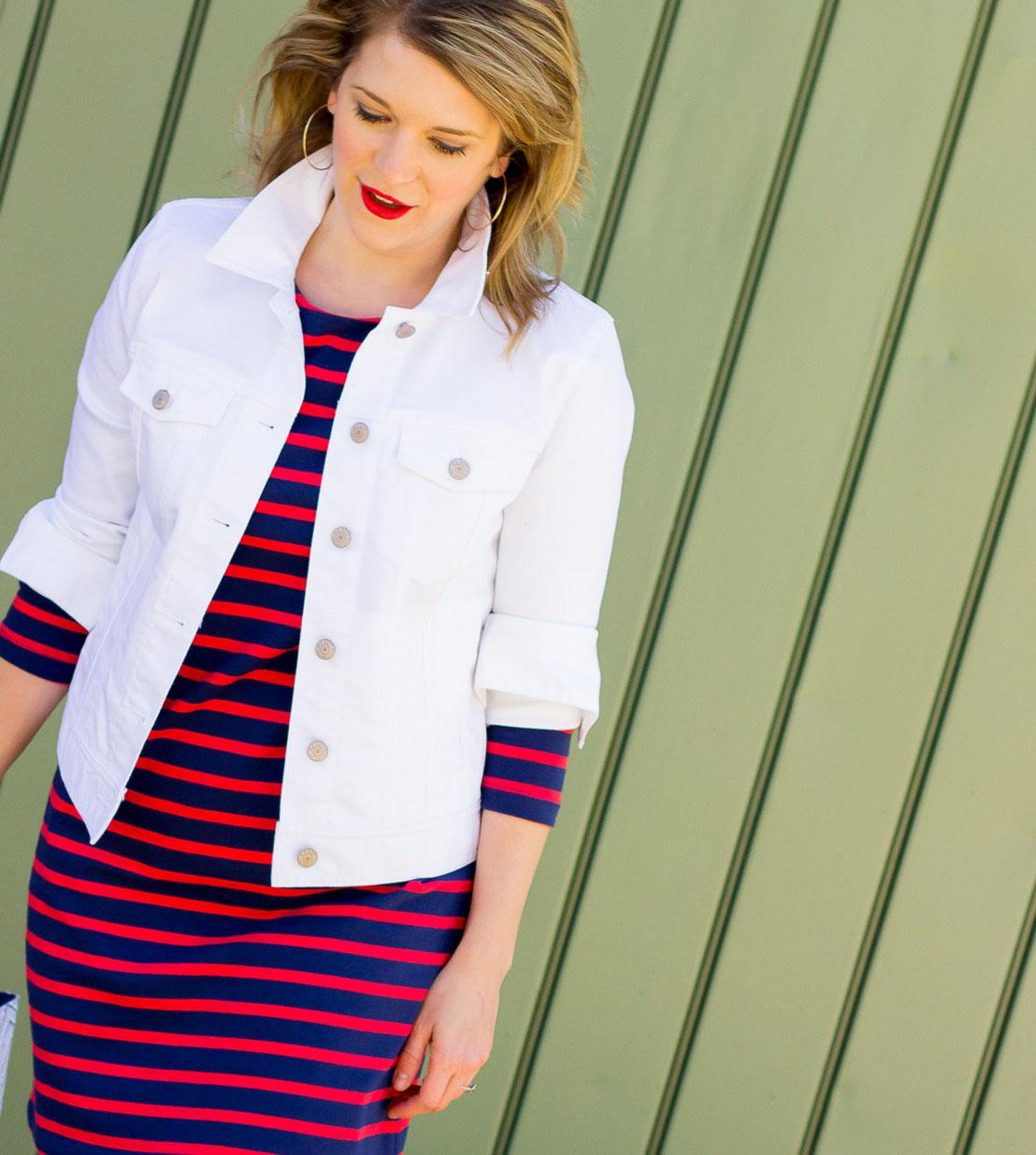 Old Navy white denim jacket on Belle Meets World blog