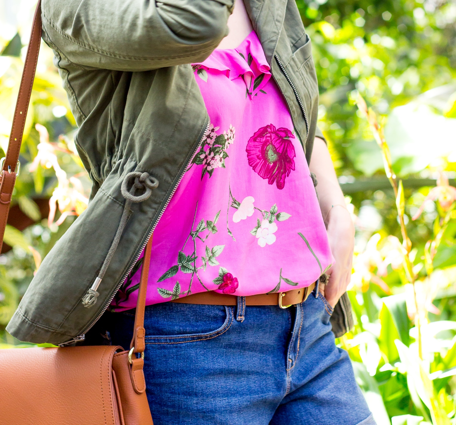 Pink floral tank and jeans shorts by Old Navy