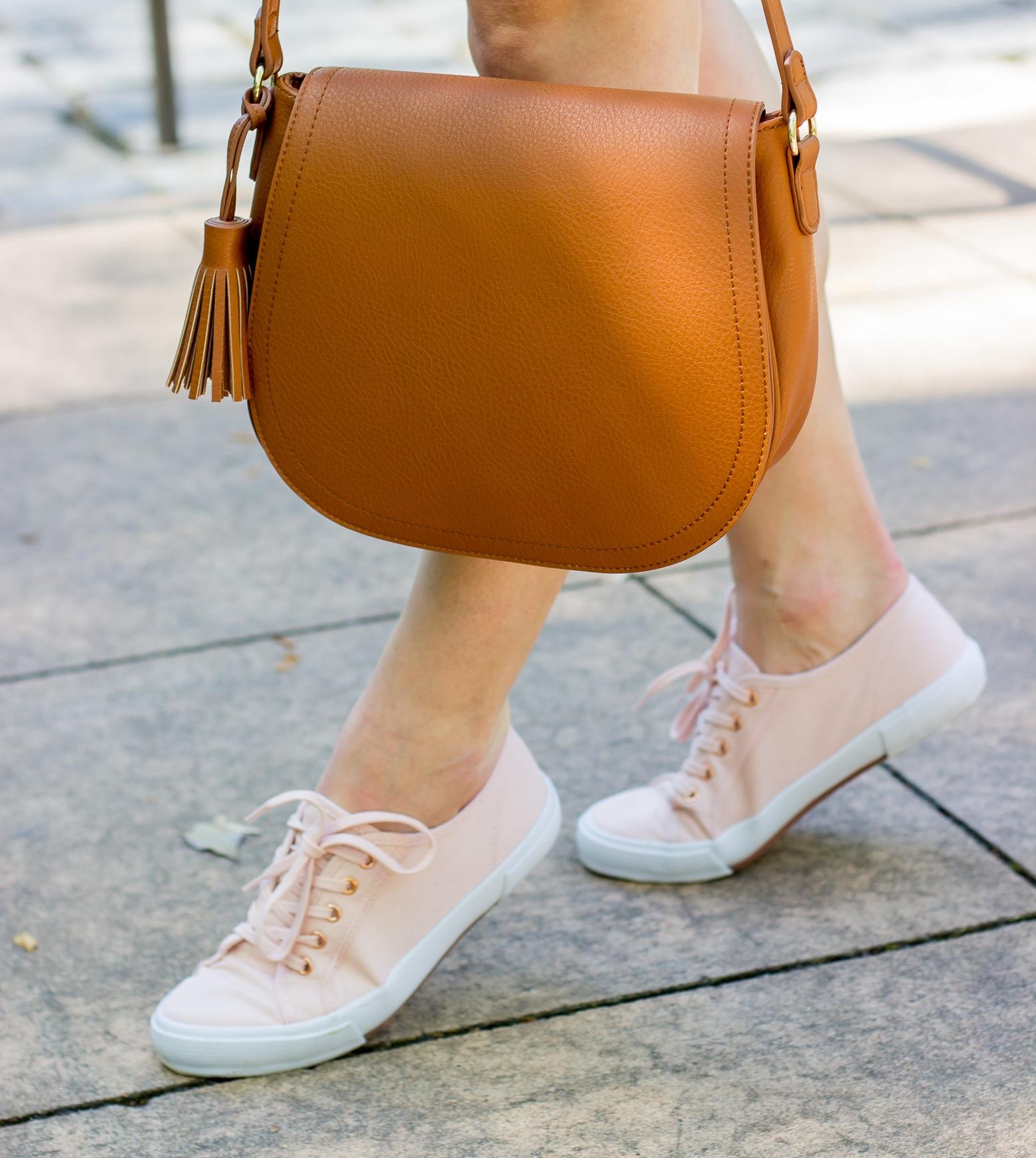 Old Navy brown saddle bag on Belle Meets World blog