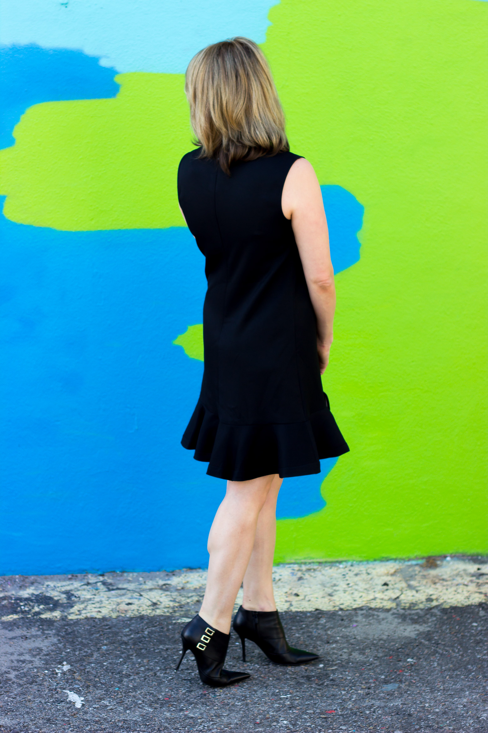 Black ruffle dress on Belle Meets World blog