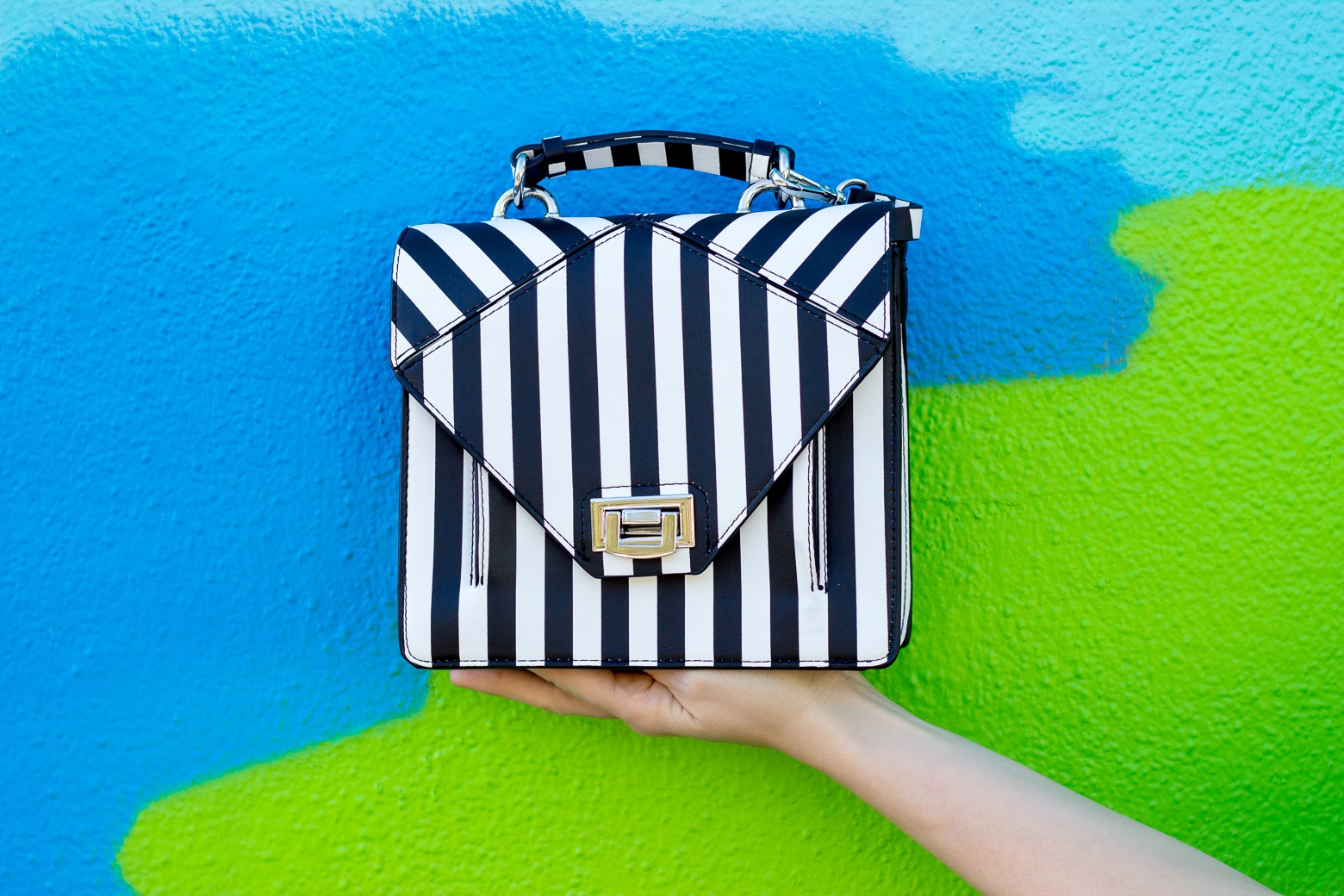 Zara striped satchel on Belle Meets World blog