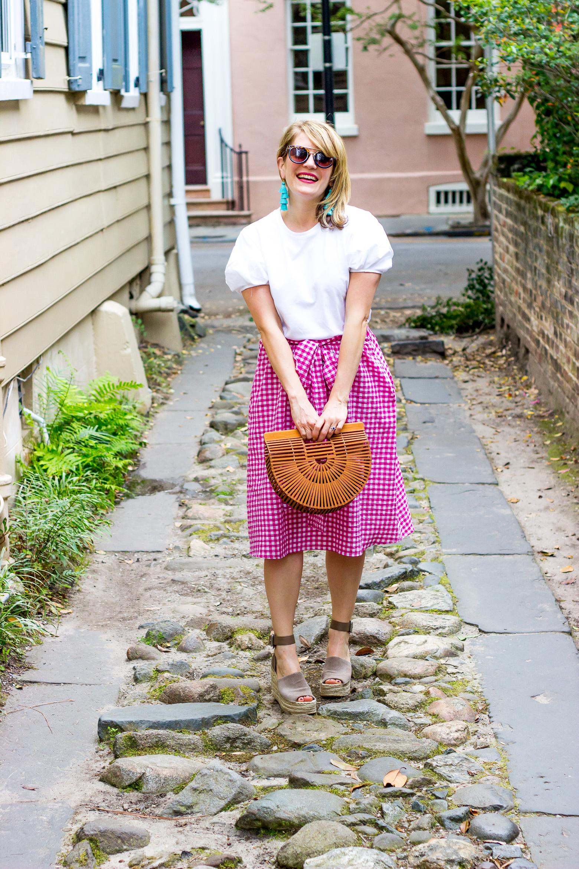 Gingham skirt and Charleston adventures on Belle Meets World blog