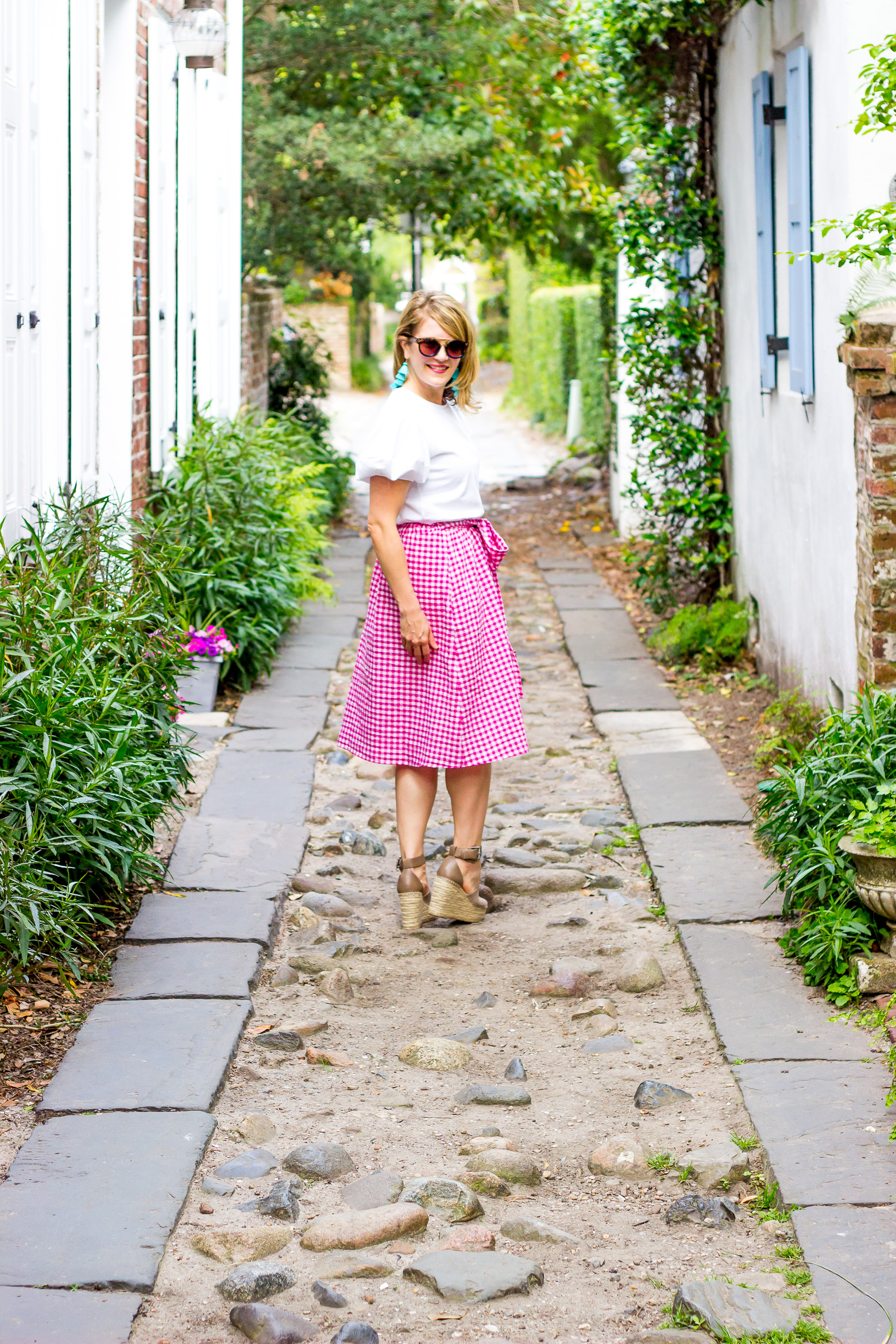 Gingham skirt and Marc Fisher wedges