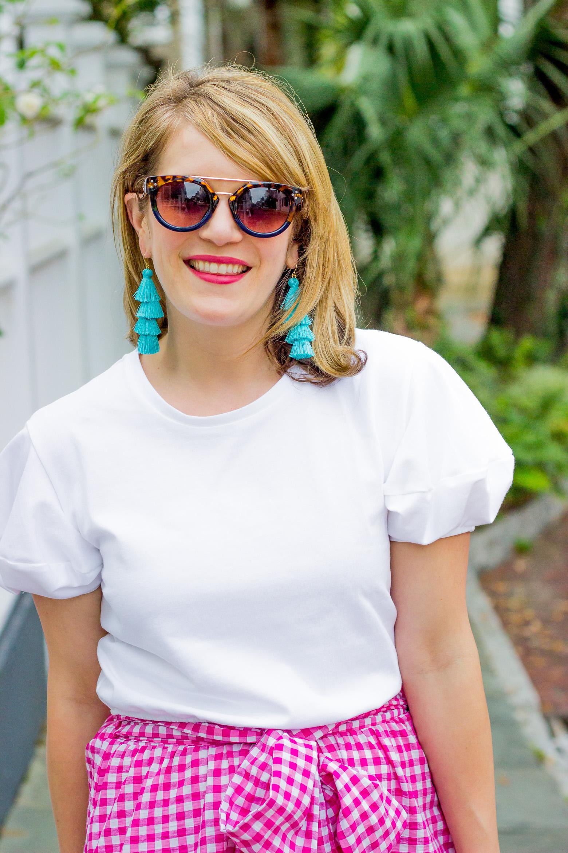 Zara puff sleeve top and Bauble bar fringe earrings
