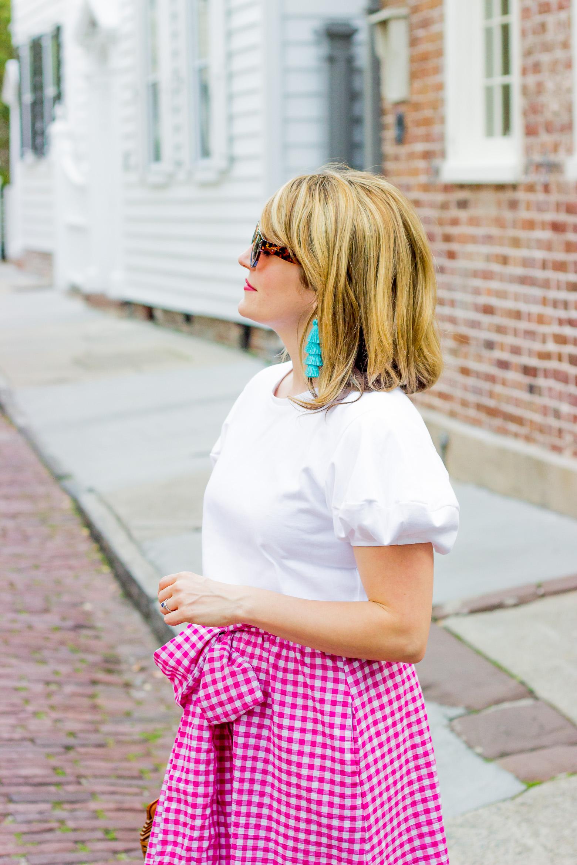 Gingham skirt on Belle Meets World blog