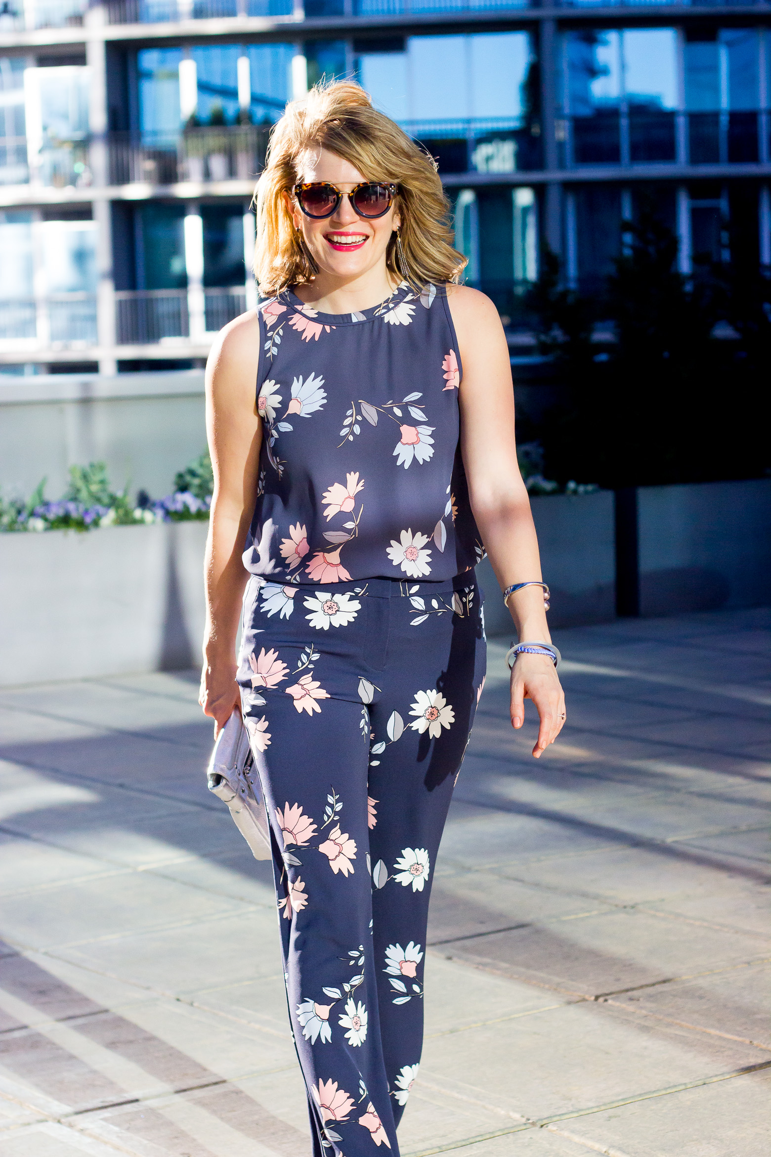 Floral pants and top by LOFT