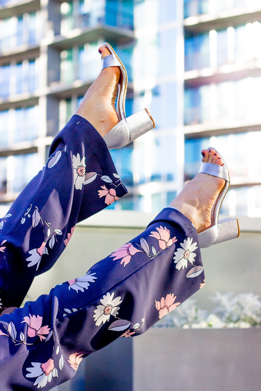 Silver block heels by Laundry