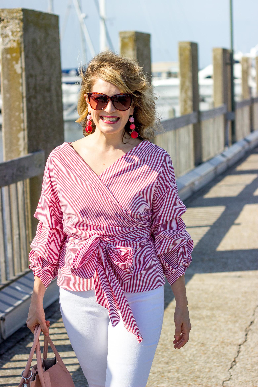 Zara wrap top on Belle Meets World blog