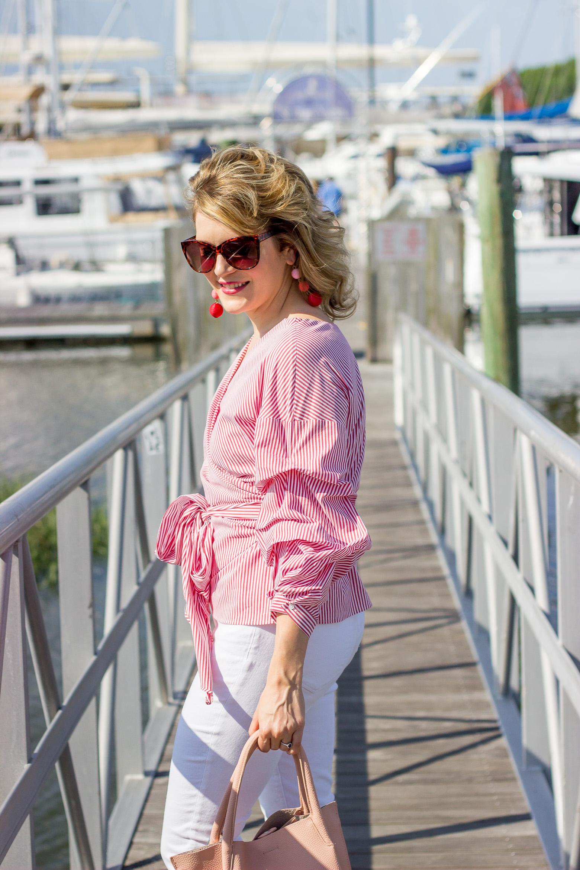 Ruffle wrap tops on Belle Meets World blog
