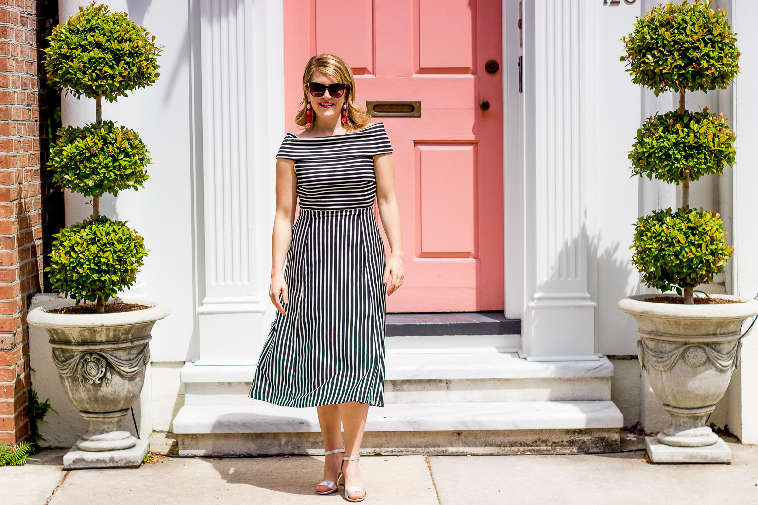 Banana Republic striped midi dress