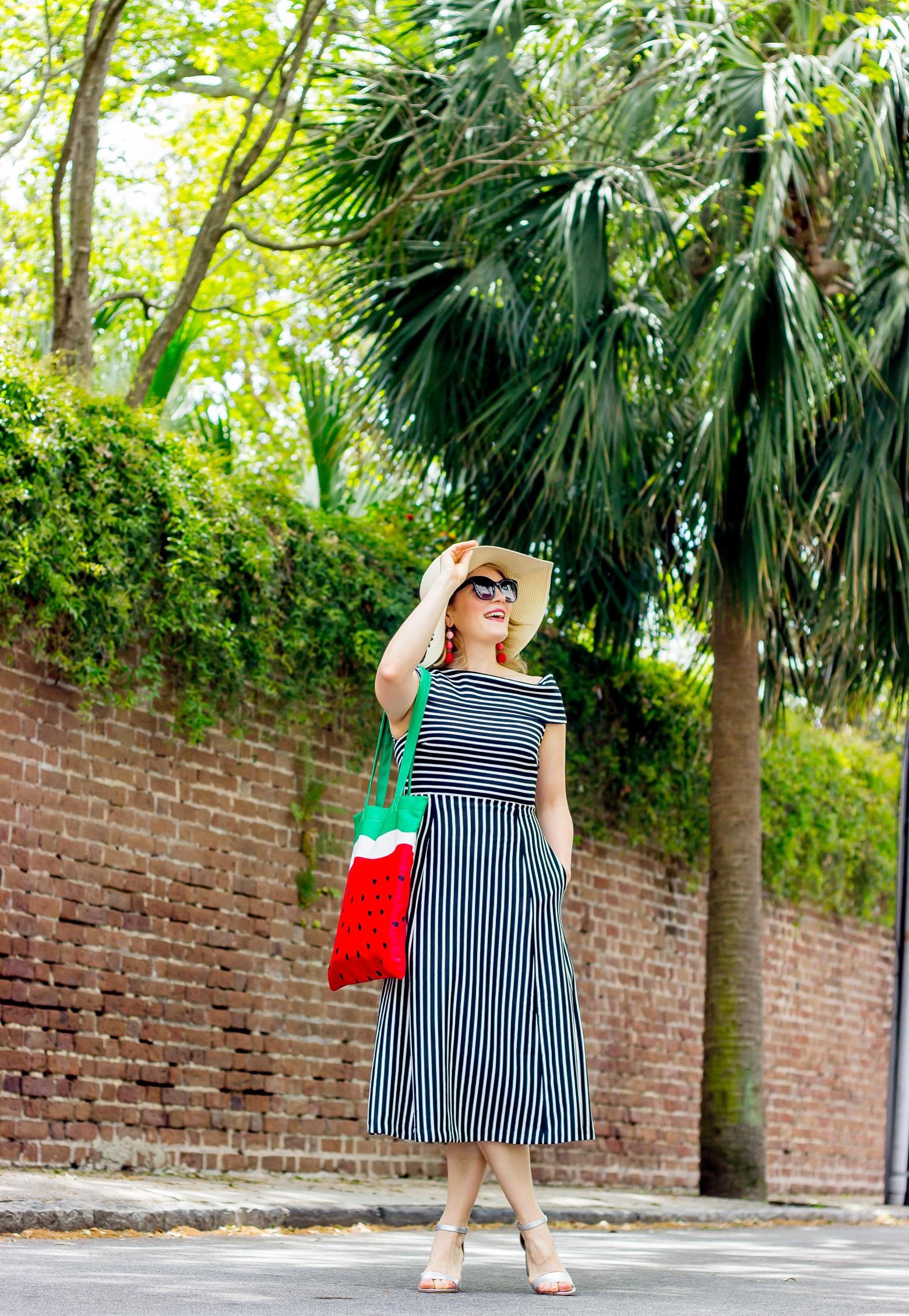 Midi dress and watermelon accessories