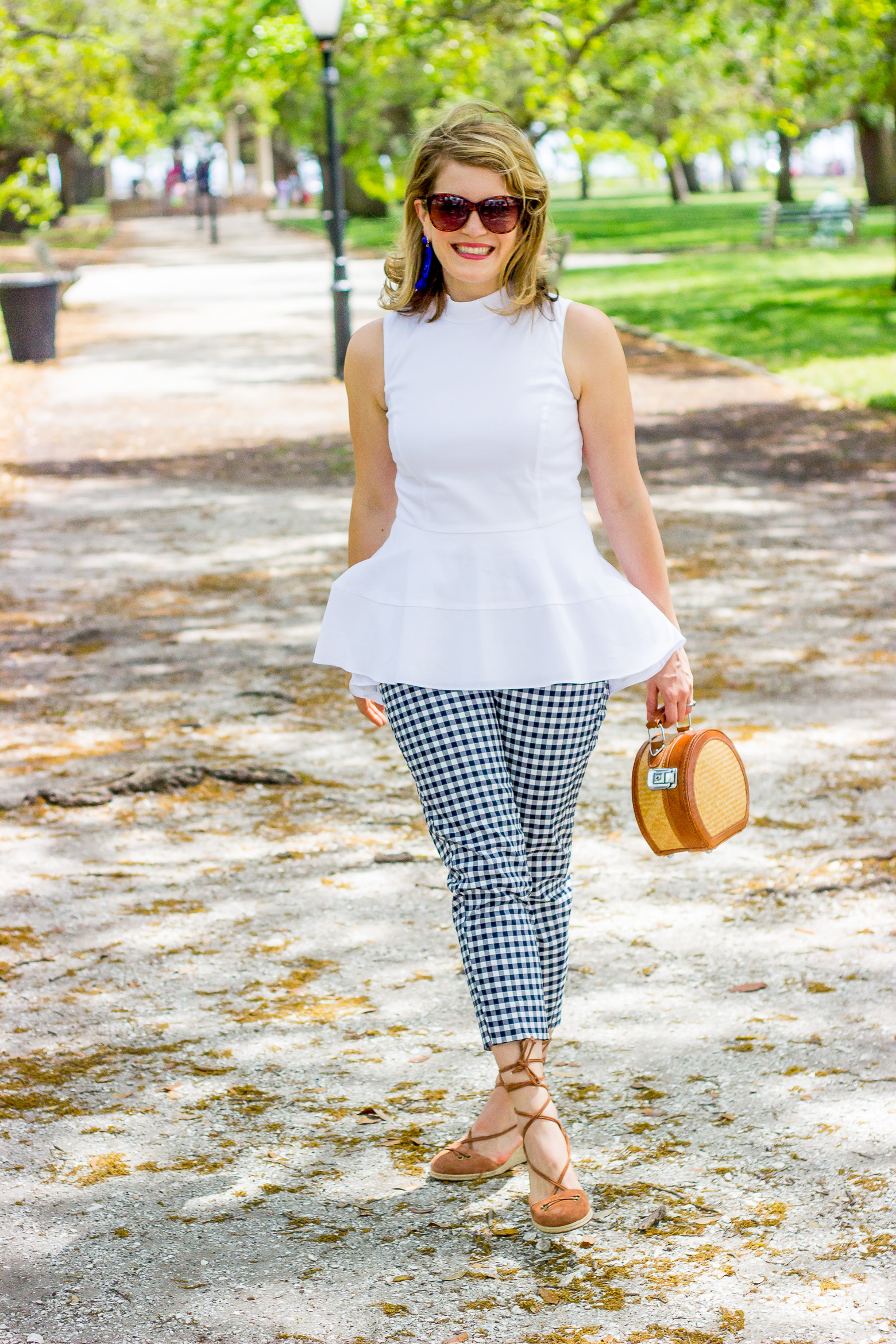 Gingham pants and peplum top on Belle Meets World blog