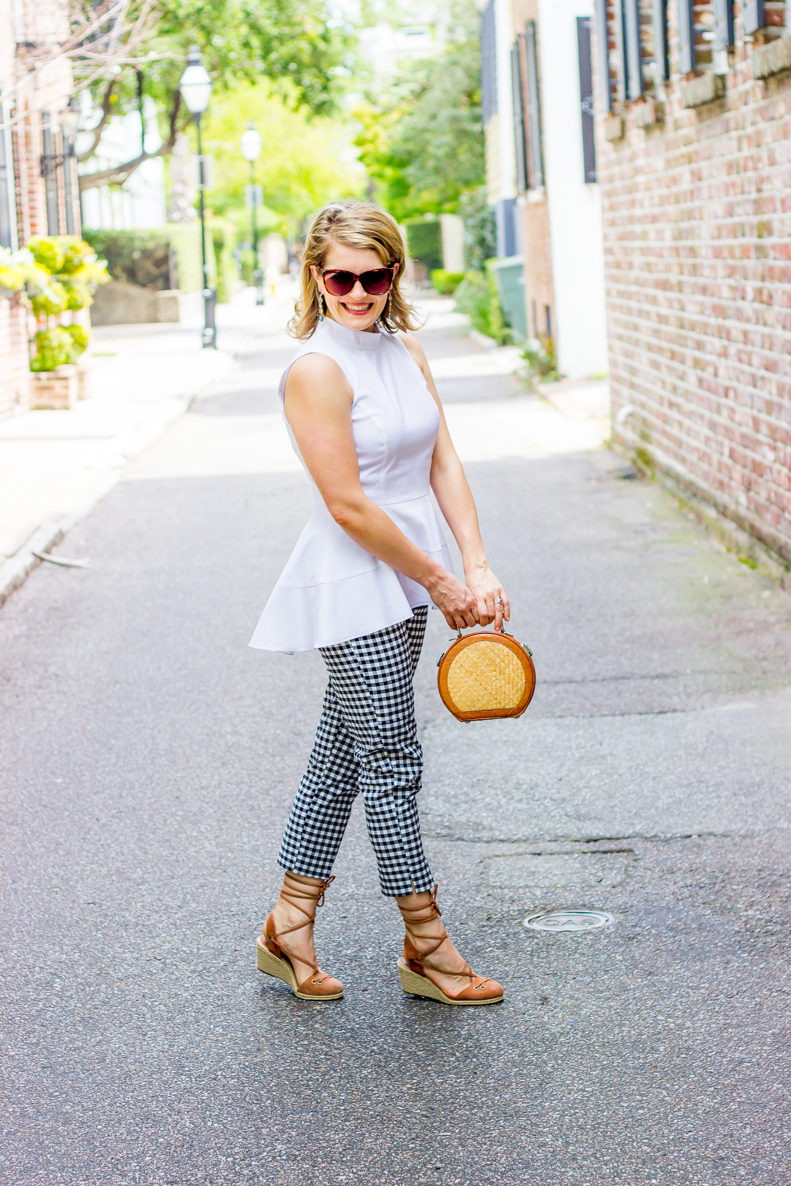 Gingham pants and peplum top