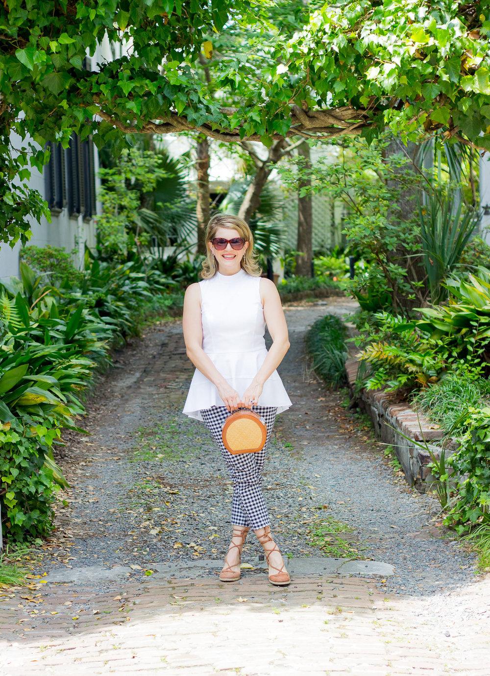 Victoria Beckham gingham pants on Belle Meets World blog