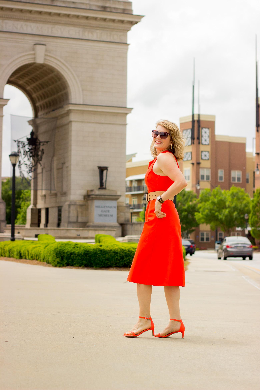 Orange midi dress and kitten heels on Belle Meets World blog