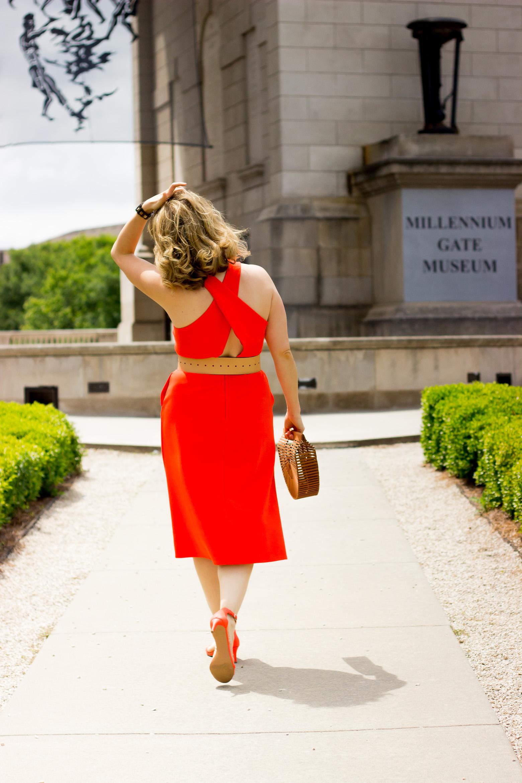 Orange Banana Republic dress on Belle Meets World blog