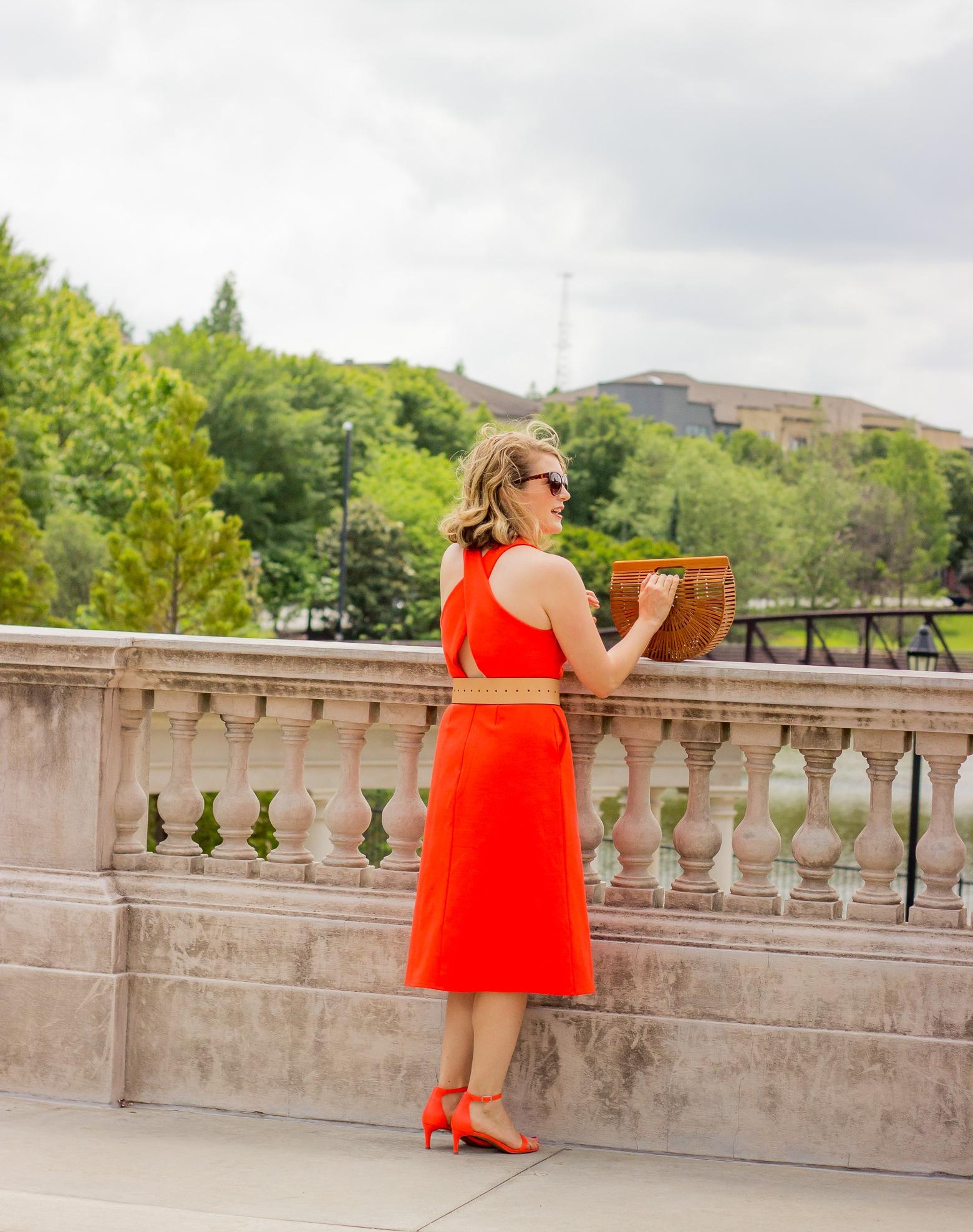 Midi dress and kitten heels on Belle Meets World blog