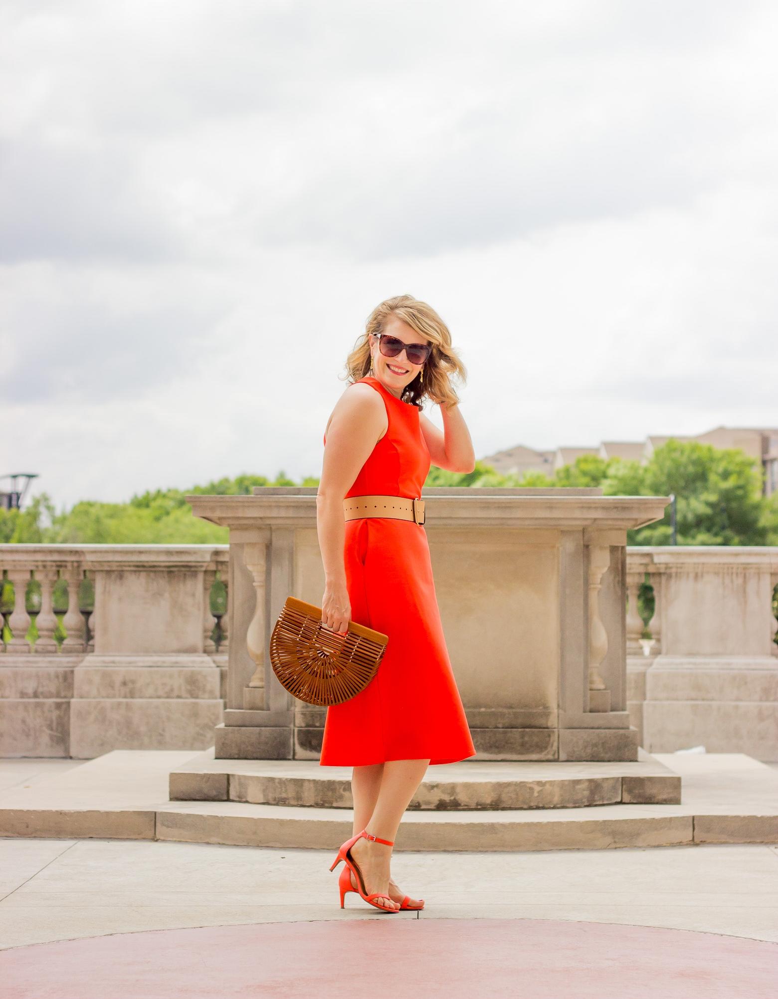 Orange midi dress on Belle Meets World blog