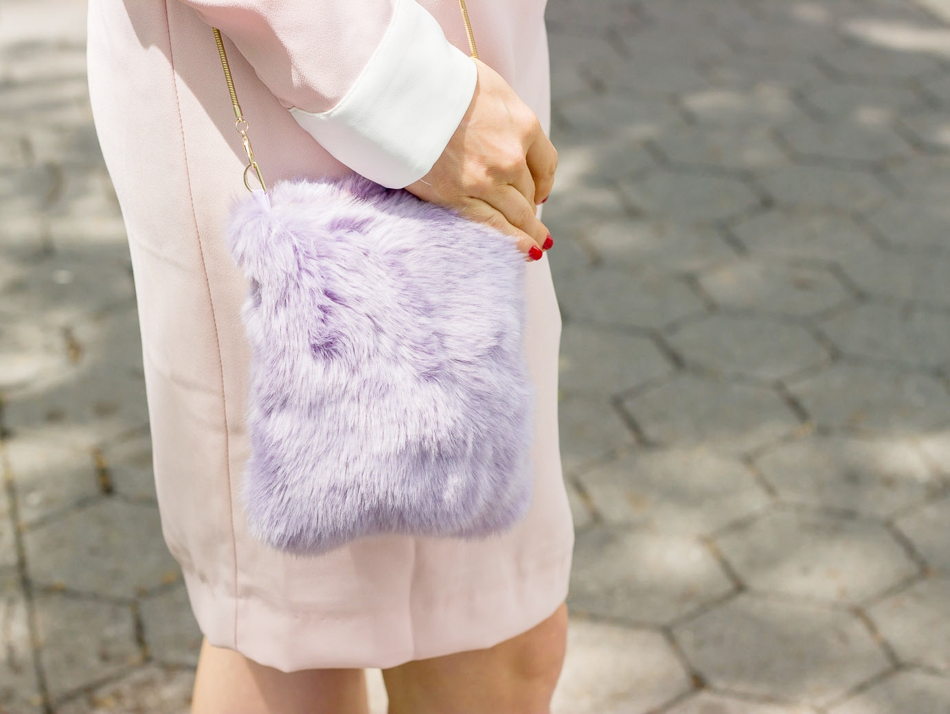 Zara purple fur bag