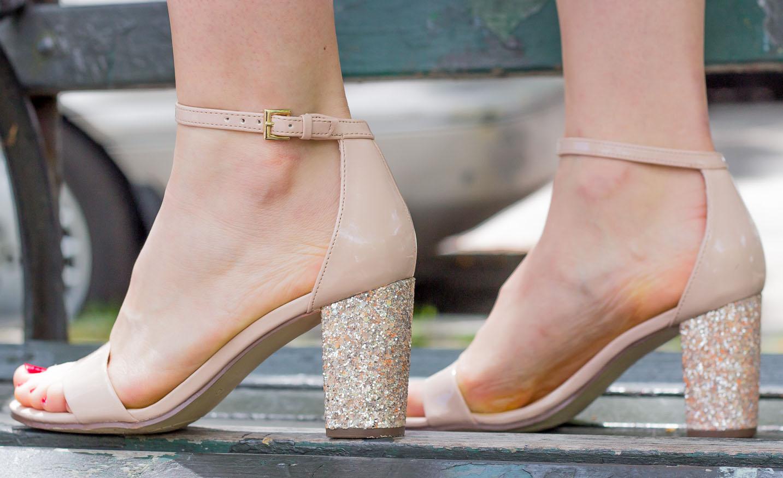 UNISA glitter block heels