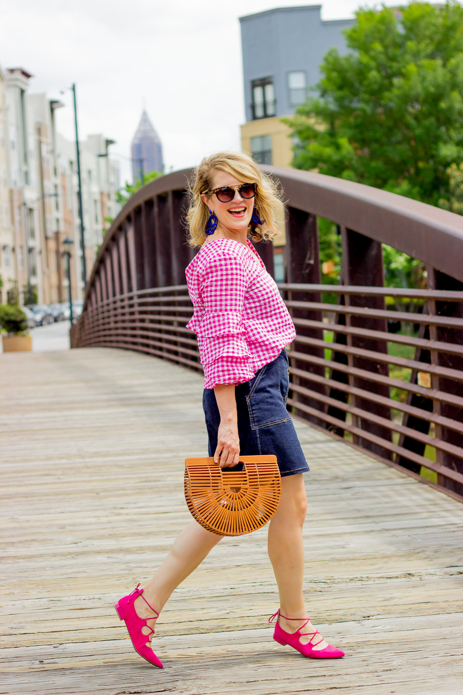 Pink Ruffle Top with denim skirt on Belle Meets World blog