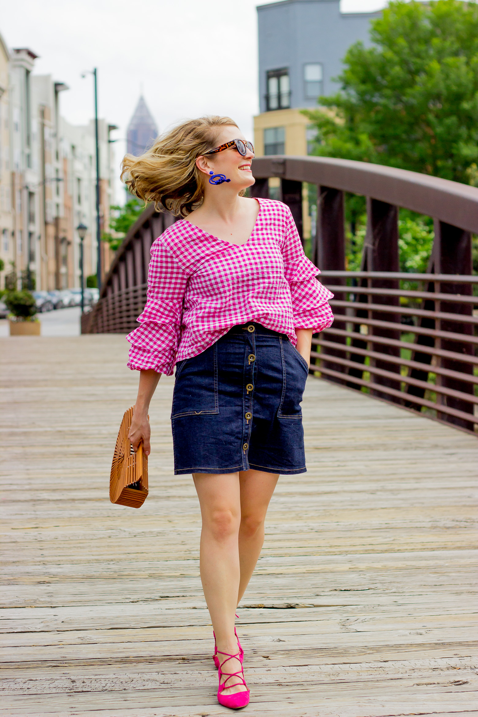 Pink Ruffle Top and denim skirt on Belle Meets World blog