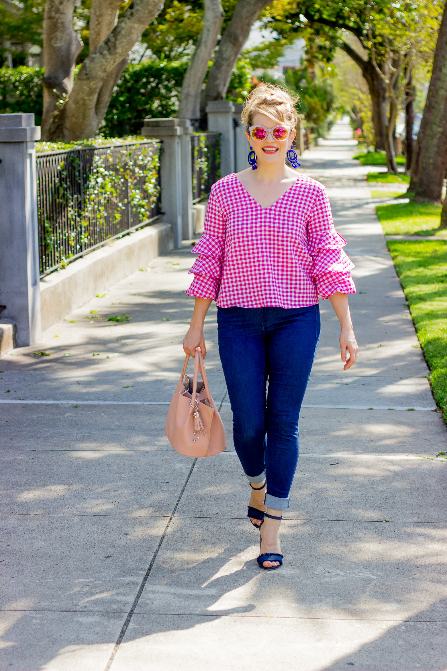 Pink Ruffle Top on Belle Meets World blog