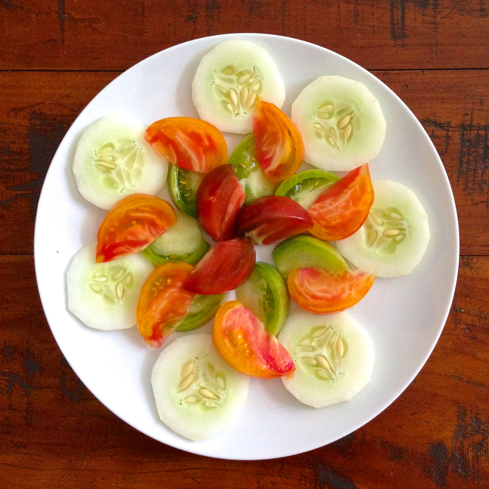Sliced Cucumbers and Heirloom Tomatoes