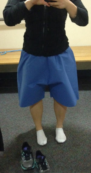 The sexiest shorts you ever did see. This was a size small, and it's already rolled up twice at the waist.